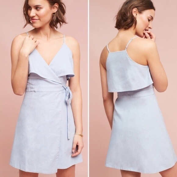 HD in Paris Dresses & Skirts - Anthropologie HD in Paris Blue Wrap Dress